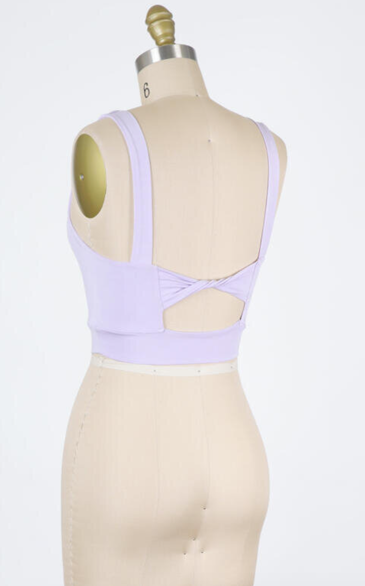 Twist Back Detail Crop Top (Lavender)