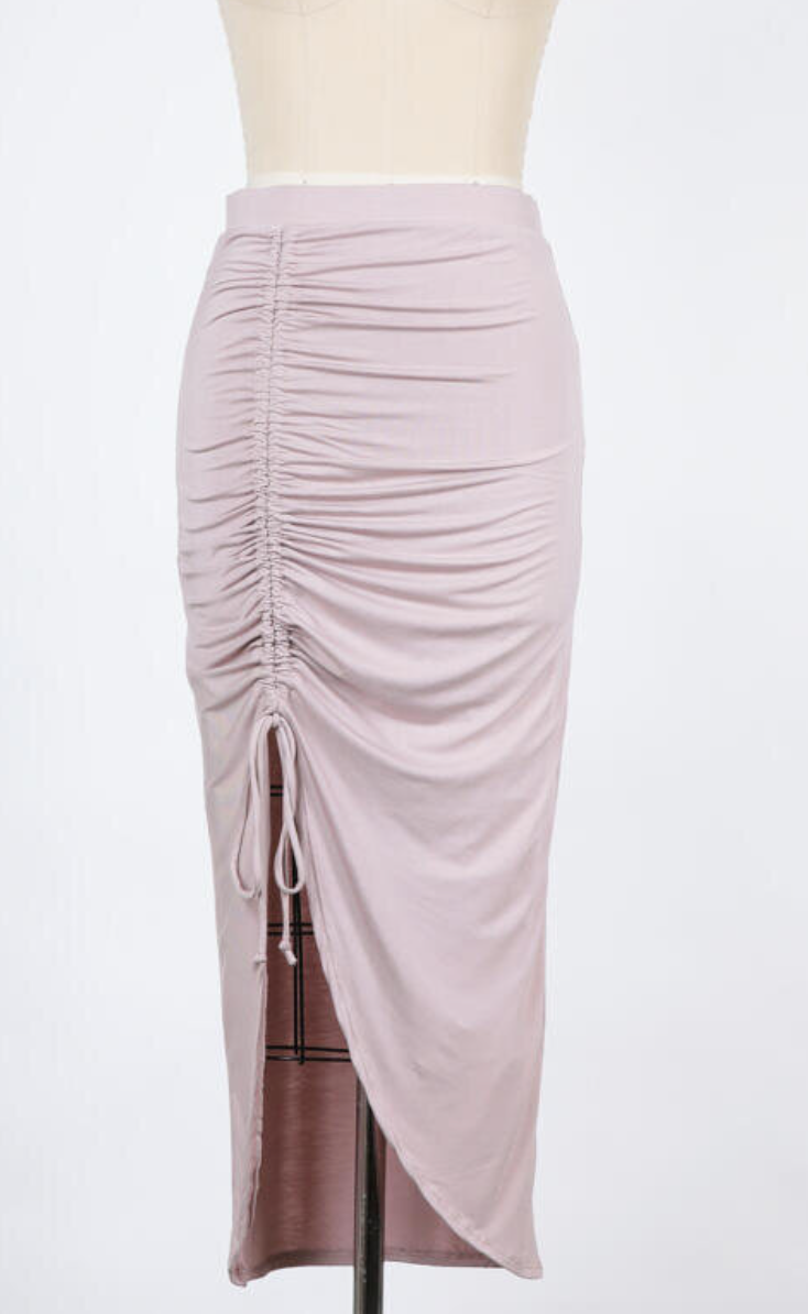 Ruched Detail Maxi Skirt (Grey Lilac)