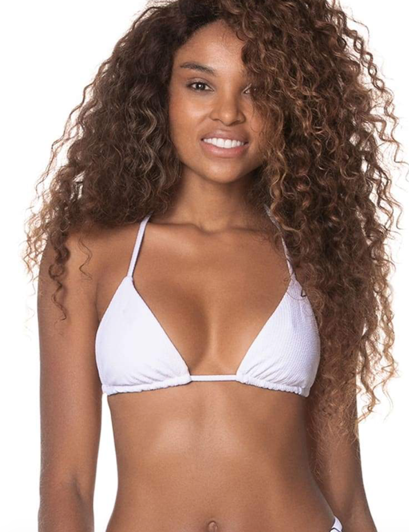 Sky White Balmy Sliding Triangle Bikini Top