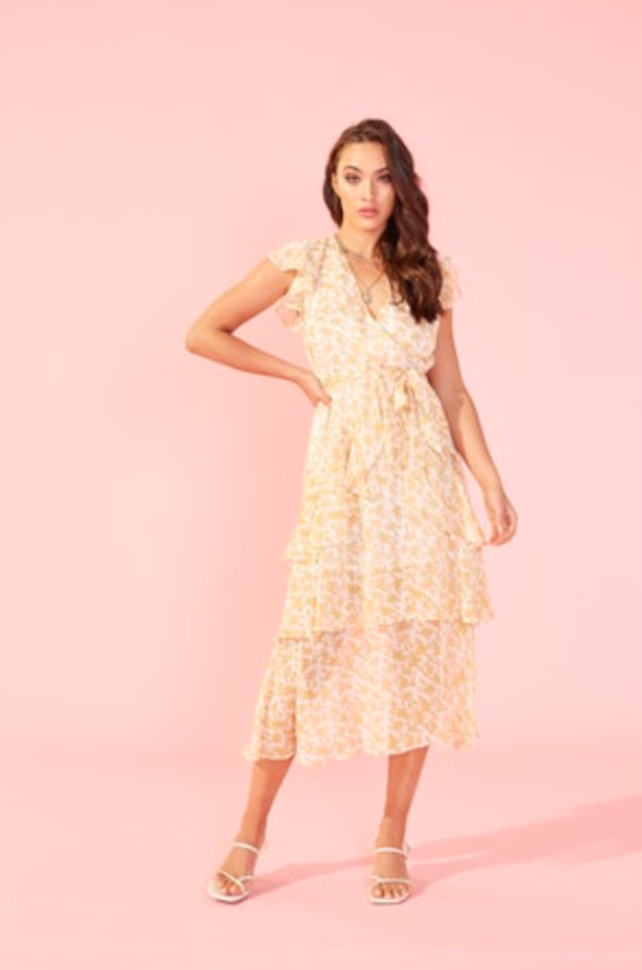 Lana Midi Dress (Gold/White)