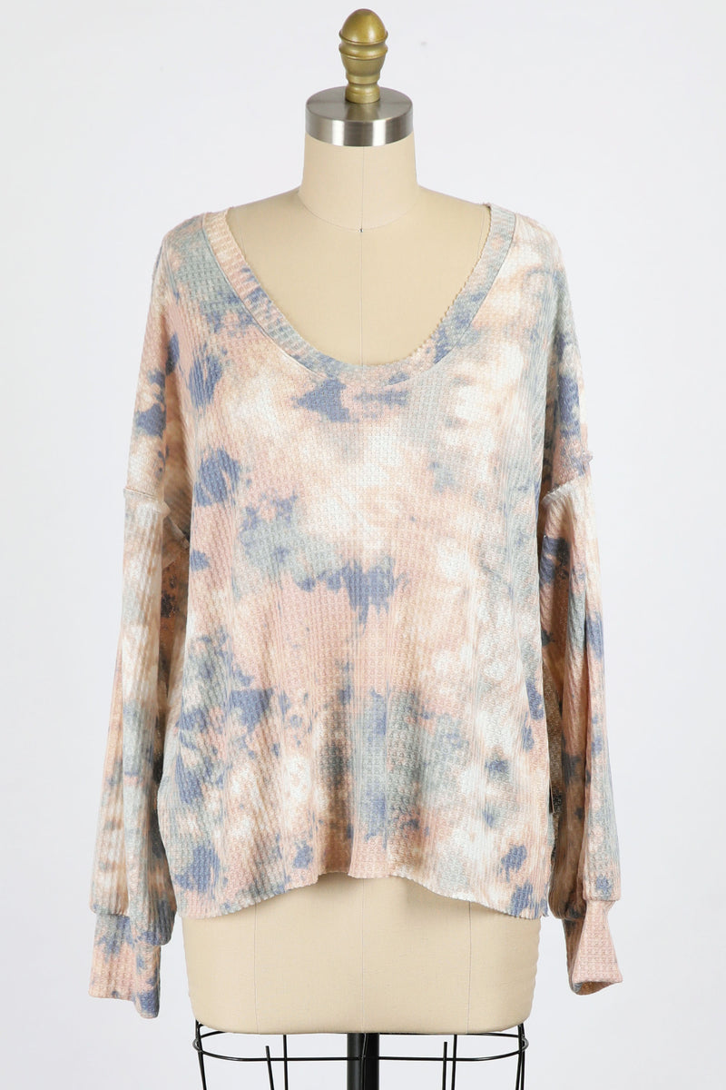 Tie Dye Thermal Pullover (Sage/Peach)