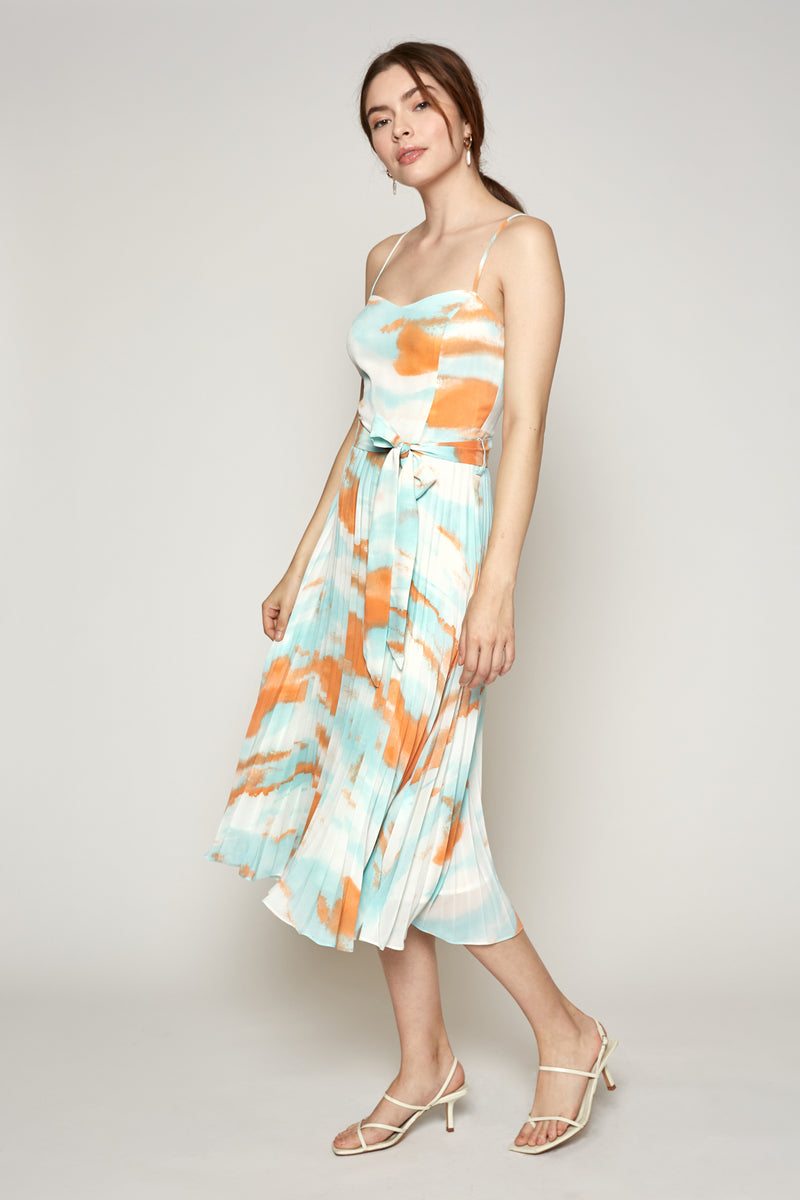 Tyler Dress (Aqua/Orange)