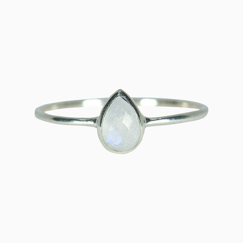 Teardrop Moonstone Ring (Silver)