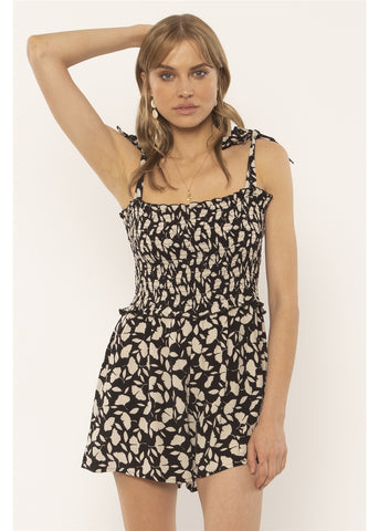 Jungle Path Woven Tank Romper (BLK)