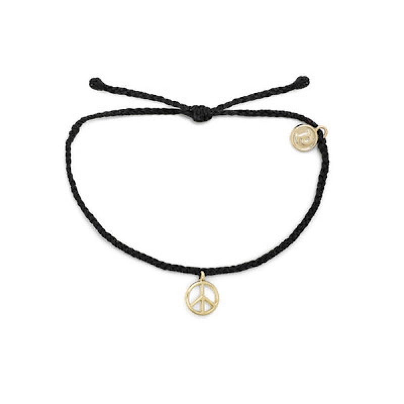 Peace Sign Bracelet Gold (BLK)