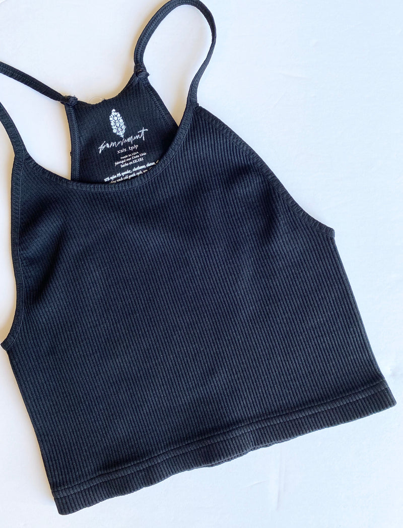 Cropped Run Tank (Black)