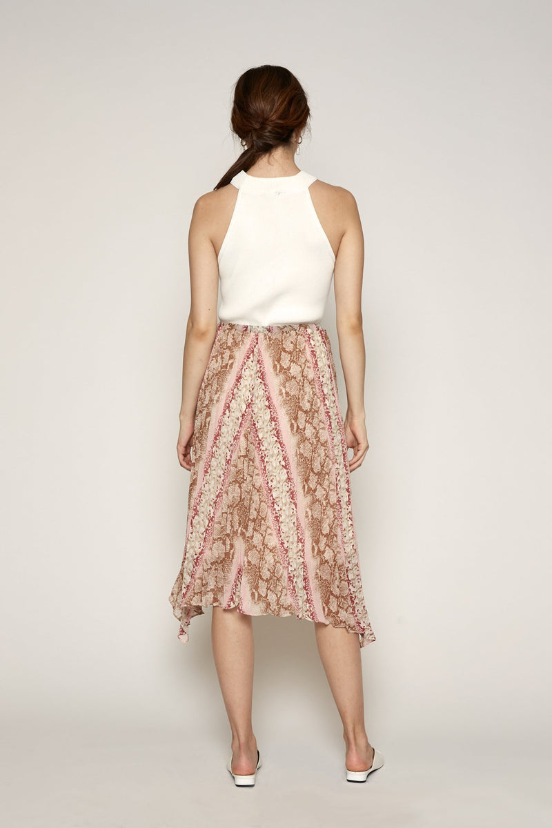 Leena Pleated Skirt (Pink Snake)