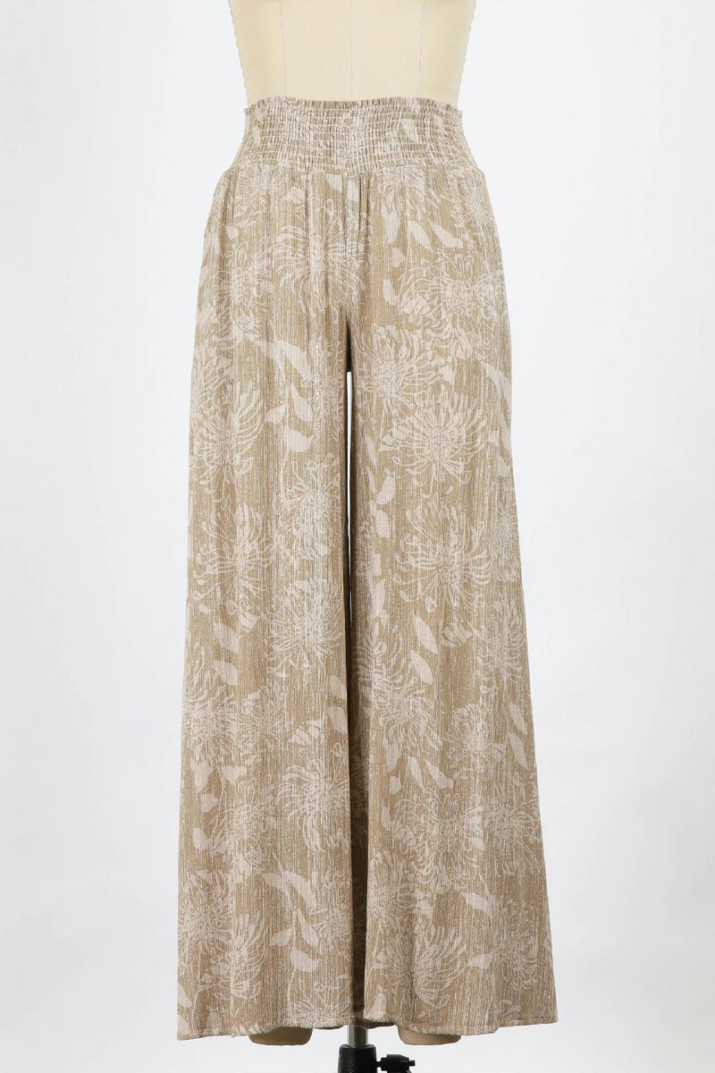 Frida Washed Print Gauze Wide Leg (Taupe)