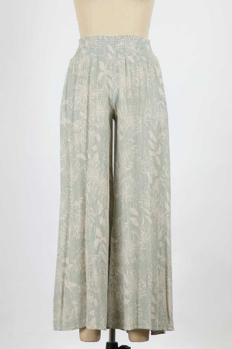 Frida Washed Print Gauze Wide Leg (Mint)