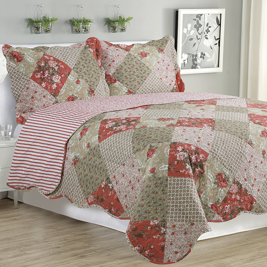 Kim - 3 Piece  Multi Color Floral Quilt Set