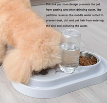 Load image into Gallery viewer, Stainless Steel Pet Bowl w/ Automatic Water Bottle