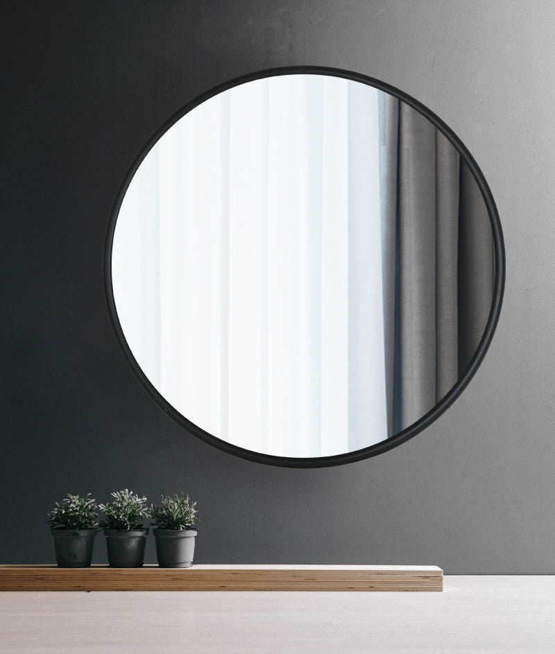 31.5 Inch Metal Black Round Wall Mirror