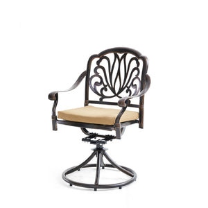 Elizabeth Cast Aluminum Garden Furniture 3 Pcs Set W/ Cushions -Bronze
