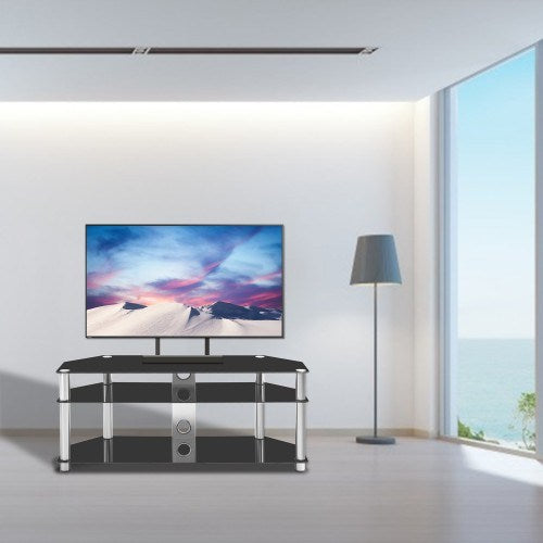 Tempered Glass Stainless Steel Frame 3-TierTV Stand