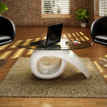 Load image into Gallery viewer, High Gloss White Coffee Table With Oval Top