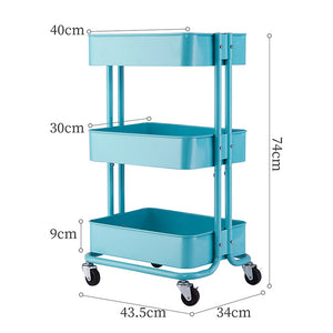 3-Tier Metal Rolling Multiuse Utility Cart w/ Adjustable Shelves