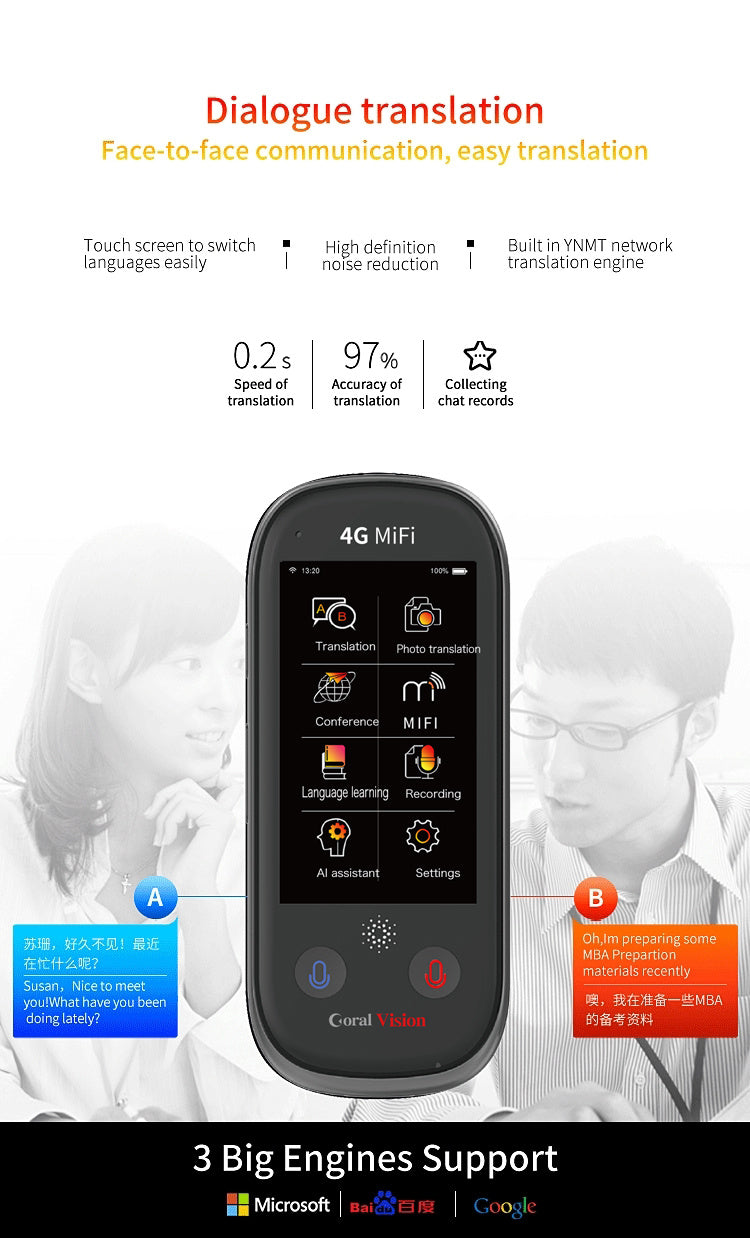 3-inch un5 Wifi/4G 117 Language Support  Intelligent Voice Converter