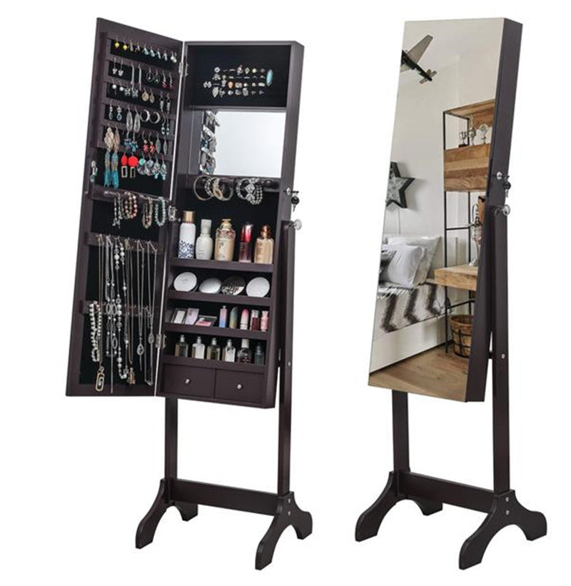 Full Mirror Floor Standing 4-layer Shelf  2 Drawer Jewelry Armoire