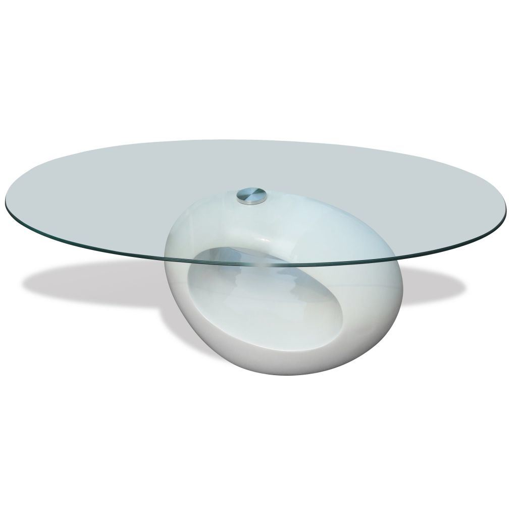 High Gloss White Oval Glass Top Coffee Table