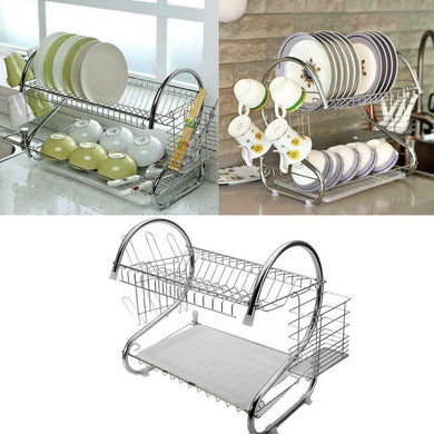 2 Tier Metal/Silver Dish Drying Rack