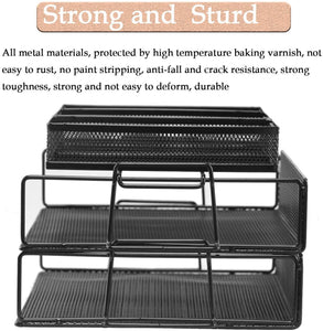 Desk Organizer Stacking Letter Tray (Black)