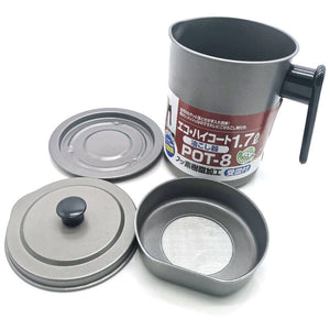 1.7L Non-Slip Non Stick Steel Kitchen Oil Filter(Gray)