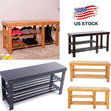 Load image into Gallery viewer, 3-Tier Bamboo Shoe Storage Entryway Bench
