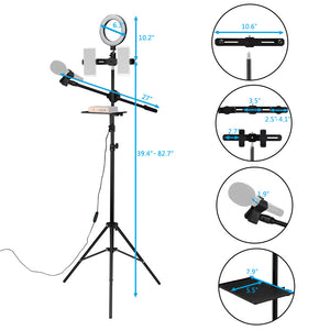 "6.3"" Selfie Ring Light w/Tripod Stand/Double Phone Holder/Mic Stand/Multifunction Plate"