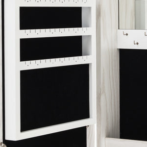 "Wall/Door Mounted Lockable Jewelry Cabinet W/ Mirror (11.81 x 3.54 x 23.62)"" - White"