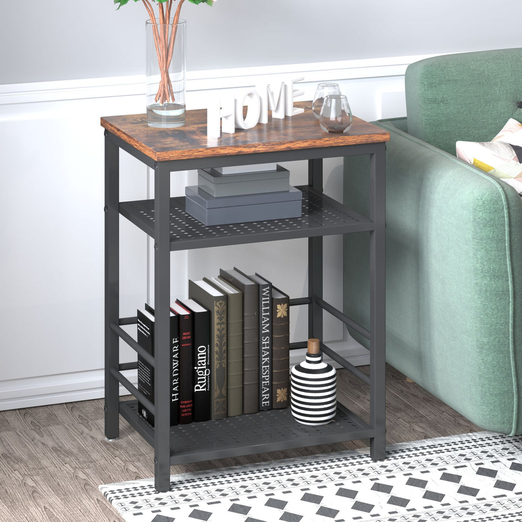Multiuse Industrial End Table With Adjustable Mesh Shelves