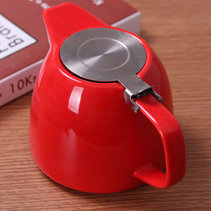 Large Red Porcelain Teapot C/ Stainless Steel Lid