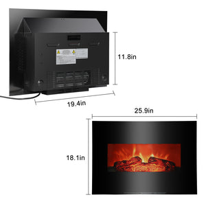 26 Inch 3D Infrared 1400W Mounted Electric Fireplace