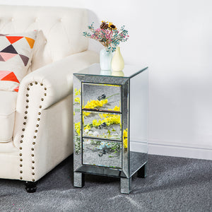 "3-Drawer Mirrored Nightstand End Table (11.81 X 11.81 X 23.62)"" - Silver"
