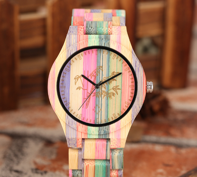 Natural Bamboo Carved Couple Quartz Watch
