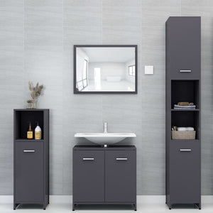 "Chipboard Bathroom Cabinet Gray 11.8""x11.8""x37.4"""