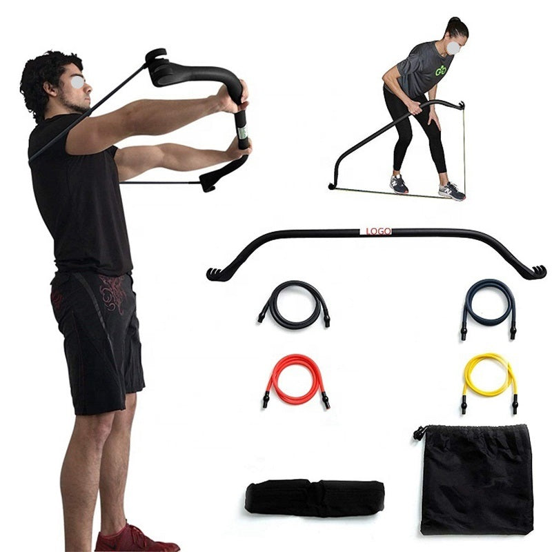 Portable Stretch Bow Home Gym Resistance Bands and Bar System