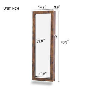 Wall/Door Mounted Fashion Jewelry  Cabinet W/ Mirror