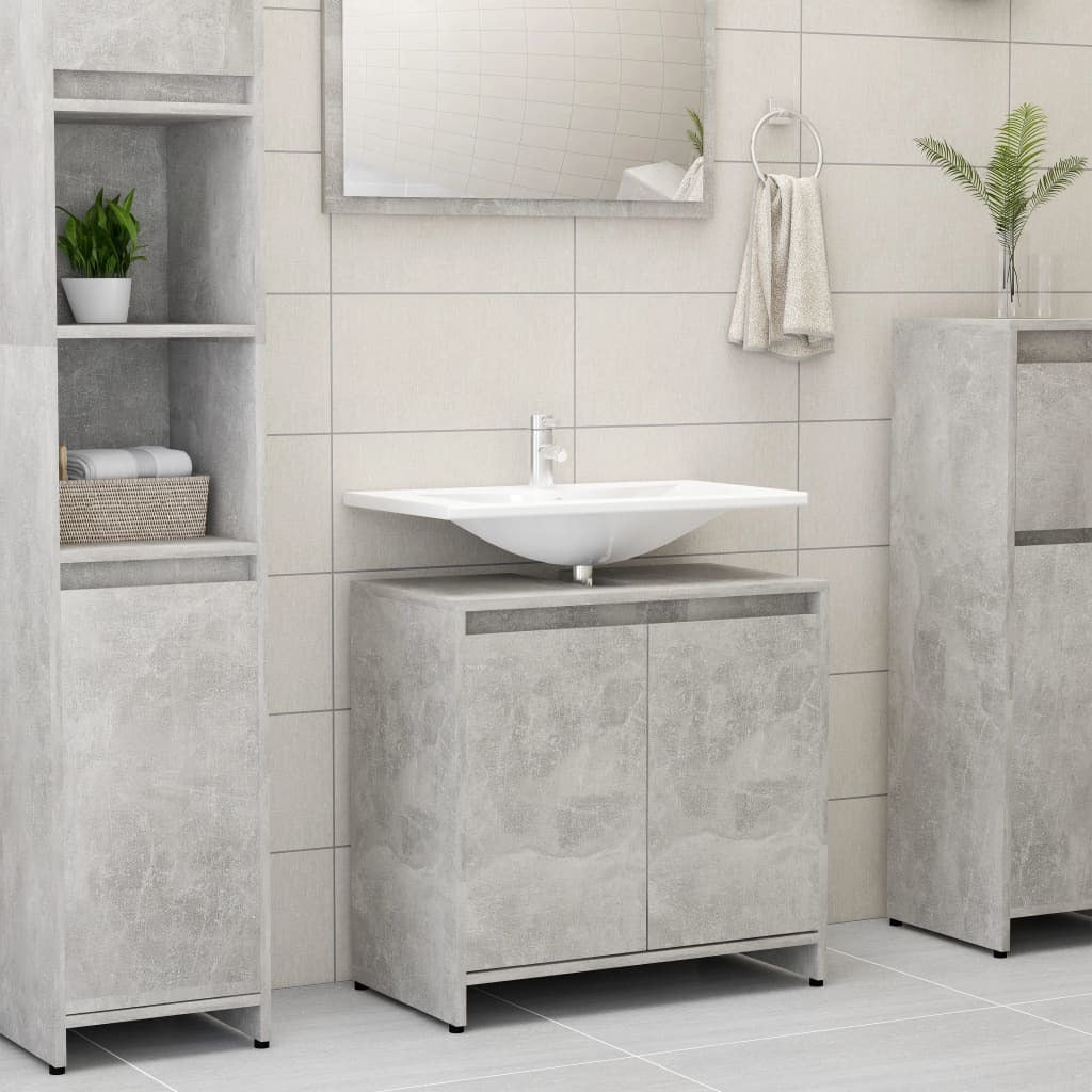 Chipboard Bathroom Cabinet Concrete 23.6