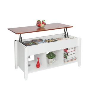 Lift Top Coffee Table w/ Hidden Compartment( White)