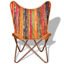 Load image into Gallery viewer, Vintage-Style Multicolour Chindi Fabric Butterfly Chair