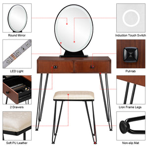 Vanity Set w/ 3 Color Dimming Touch Screen Lighted Mirror & Cushioned Stool