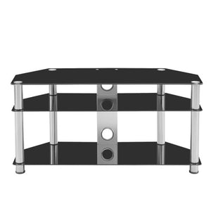 Multi-Function Black Tempered Glass Metal Frame 3-Tier TV Stand