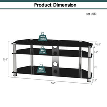 Load image into Gallery viewer, Multi-Function Black Tempered Glass Metal Frame 3-Tier TV Stand