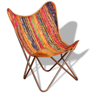 Vintage-Style Multicolour Chindi Fabric Butterfly Chair