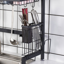 Load image into Gallery viewer, Multiuse 2 Tier Space Saver Stainless Steel Dish Drying Sink Rack (Black)