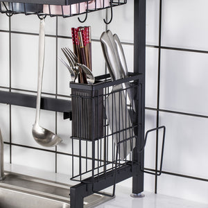 Multiuse 2 Tier Space Saver Stainless Steel Dish Drying Sink Rack (Black)