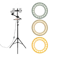 "Load image into Gallery viewer, 6.3"" Selfie Ring Light w/Tripod Stand/Double Phone Holder/Mic Stand/Multifunction Plate"
