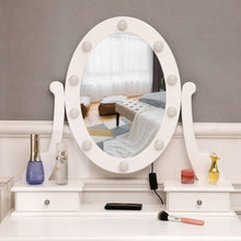 Load image into Gallery viewer, Makeup Vanity Mirrored Dressing Table W/ 10 LED Light Bulbs