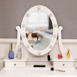 Makeup Vanity Mirrored Dressing Table W/ 10 LED Light Bulbs