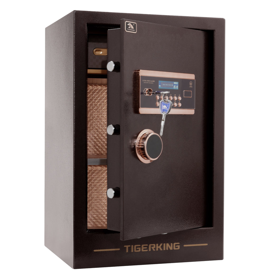 TIGERKING Burglary Digital Security Safe Box W/ Double Safety Key Lock (3.47 Cubic Ft)